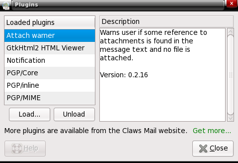 Claws Mail plugins window