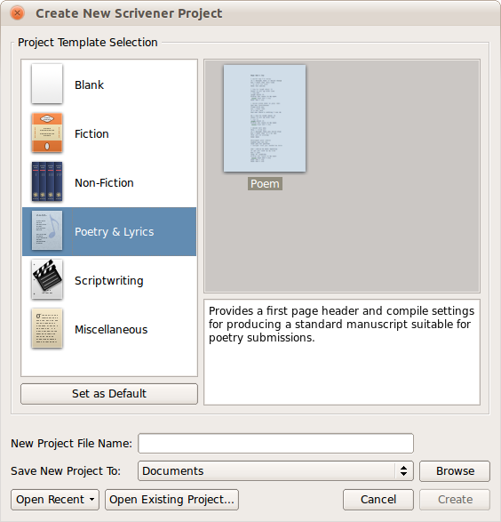 Create New Scrivener Project