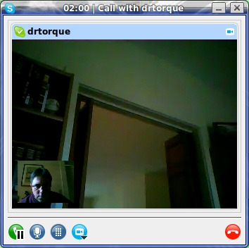 Video Skype in action.