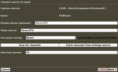 MythTV Input Connections Screen