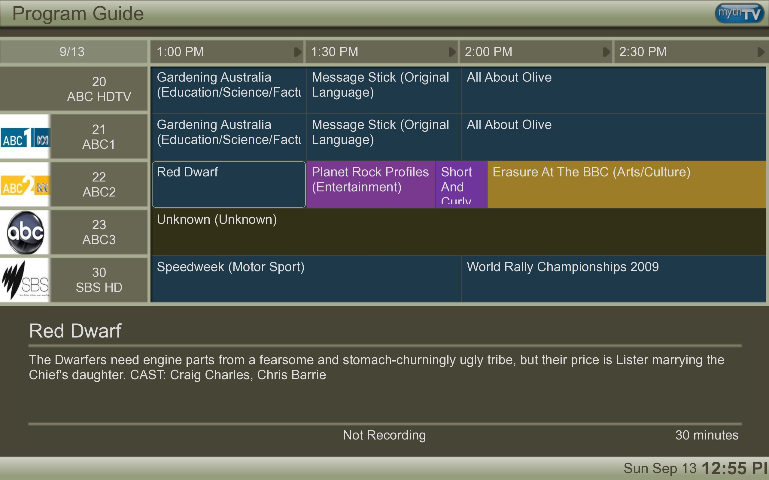 Figure 1: MythTV Program Guide