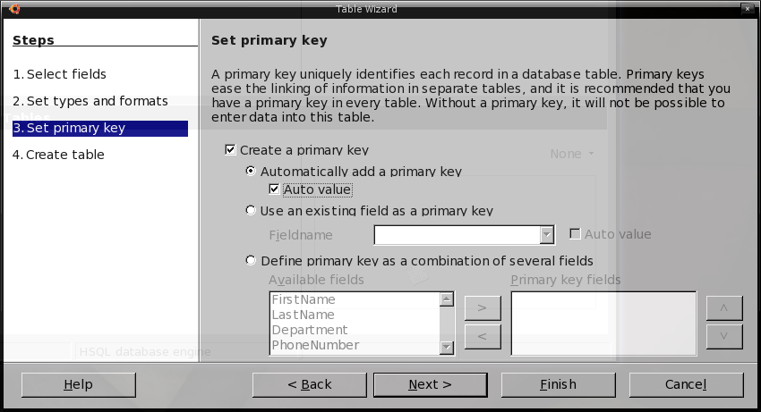 Define primary key