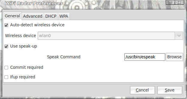 Wifi Radar general configuration options