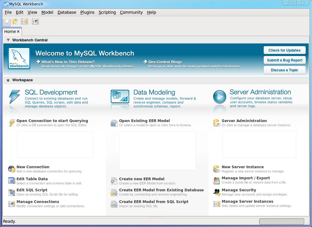 MySQL Workbench main window