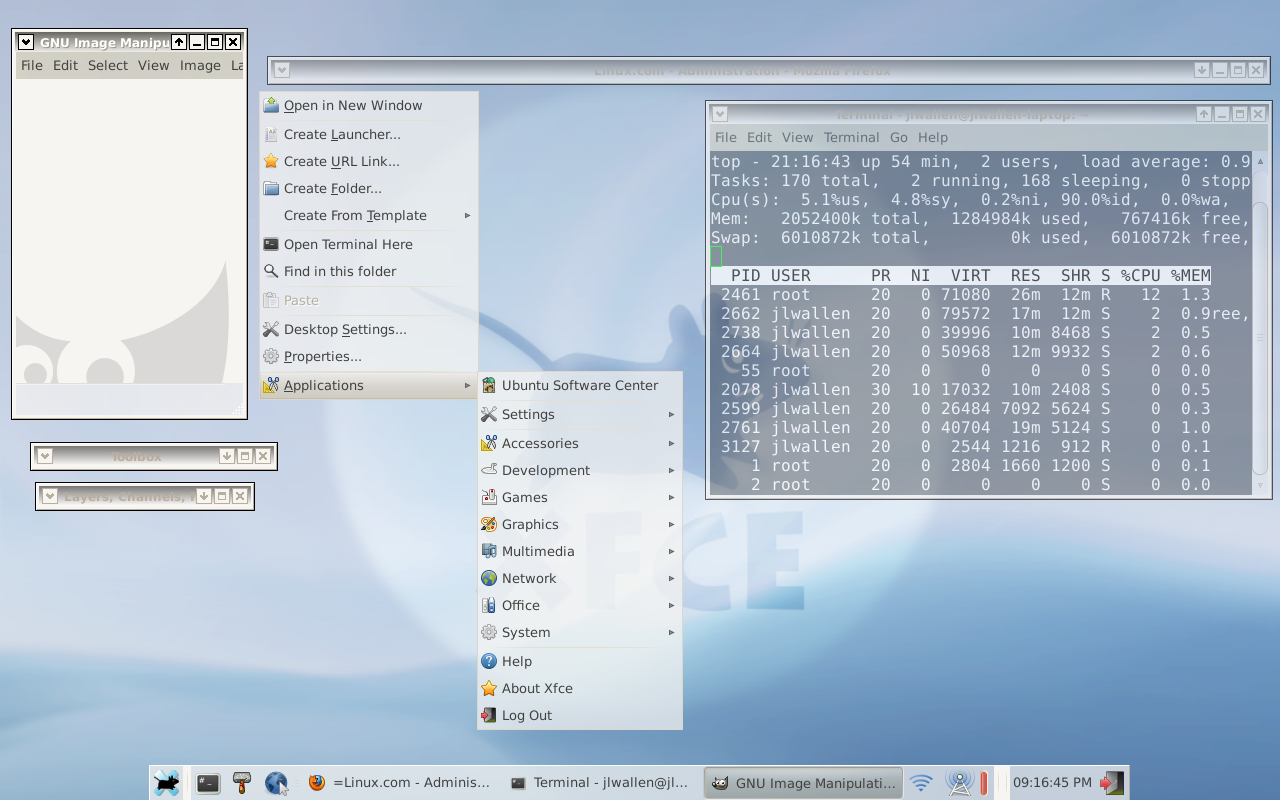 The Xfce4 desktop