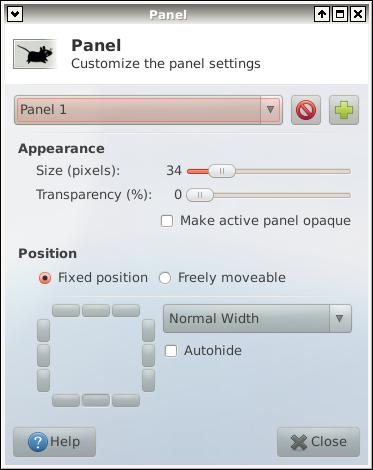 Xfce4 Panel Configuration