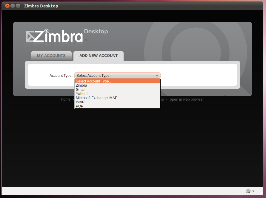 Zimbra Desktop Add Account