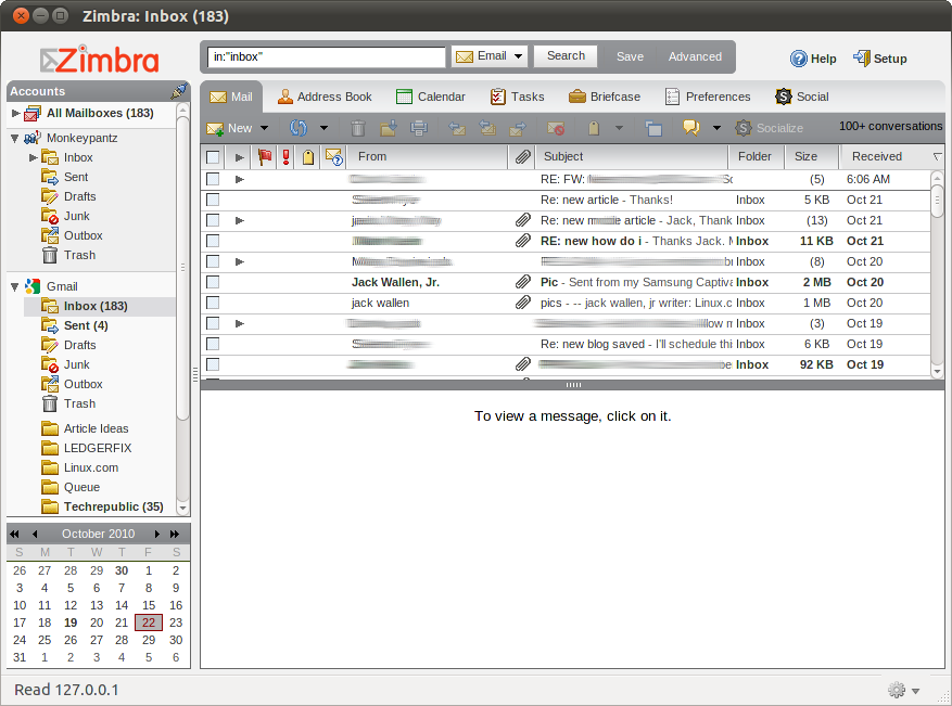 Zimbra Desktop inbox