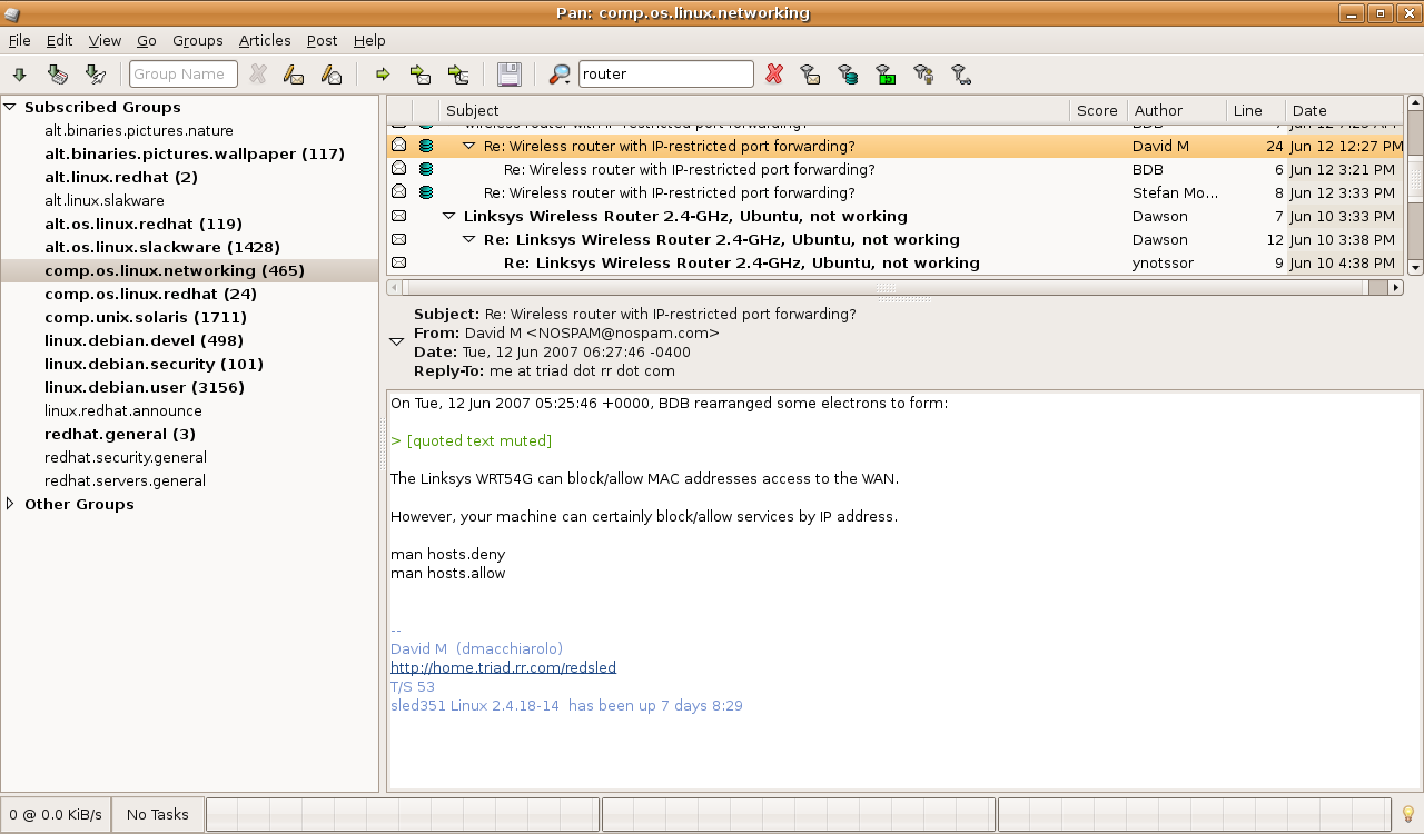 Pan - a feature-rich newsreader for Linux - Linux com