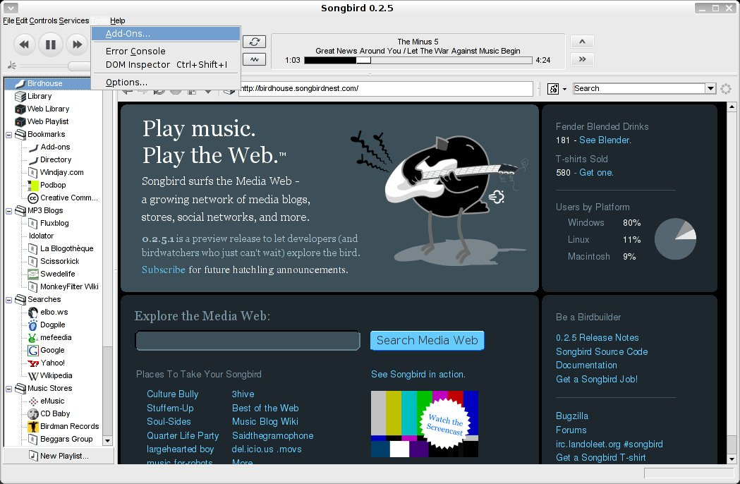Songbird audio player has potential, needs work | Linux com | The
