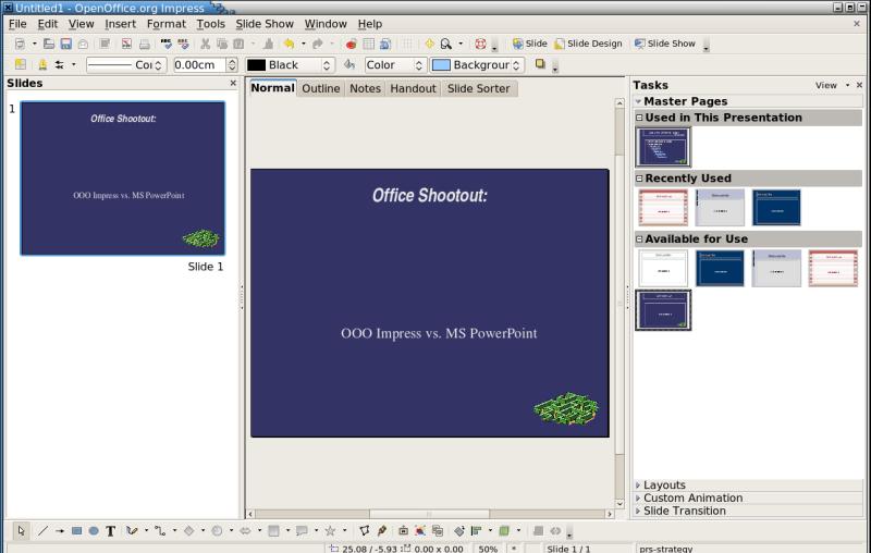 office shootout: openoffice impress vs. microsoft powerpoint, Presentation templates