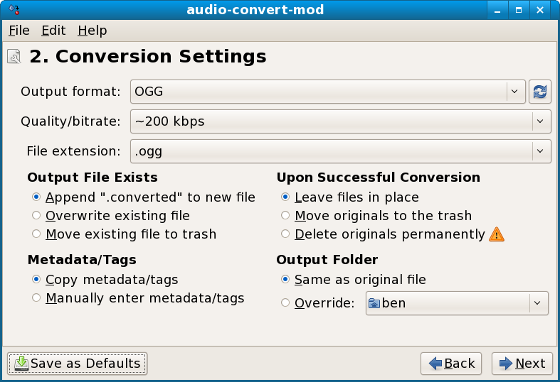 Three utilities for automatically converting audio for