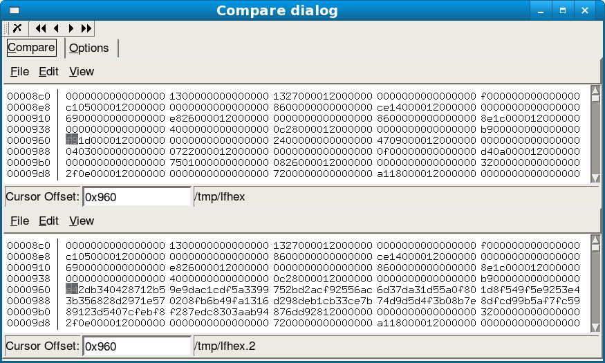 Edit and compare giant binary files with lfhex - Linux com